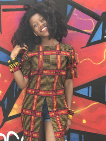 New in African Print Long Slit Top