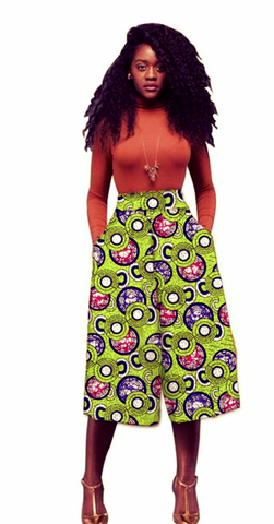 African Ankara Print Women Calf-Length Culottes - African Clothing from CUMO LONDON