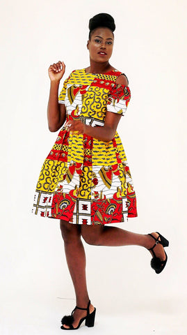 African Print Ankara Shift Mini Dress - Yellow - African Clothing from CUMO LONDON