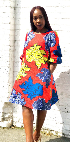 NKOLI - African Print Ankara Shift Mini Dress - Orange - ATMKollectionz