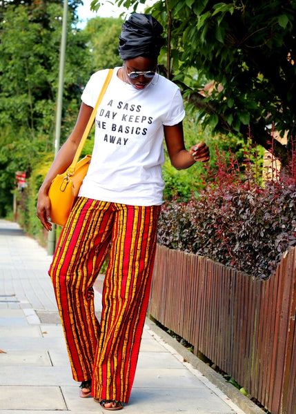 African Print Ankara Pallazo Trousers - Red - African Clothing from CUMO LONDON