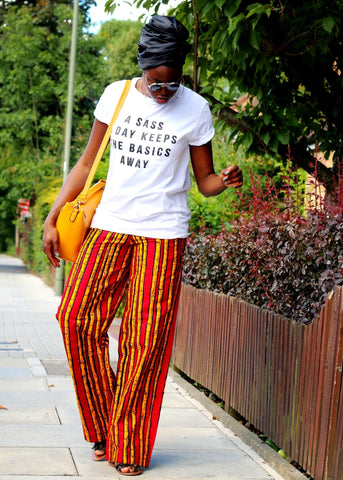 African Print Ankara Pallazo Trousers - Red - ATMKollectionz