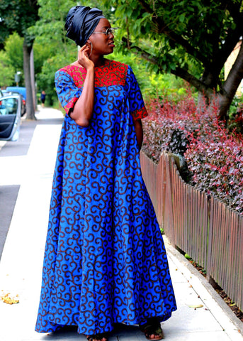 African Print Blue Ankara Print Maxi Dress - ATMKollectionz