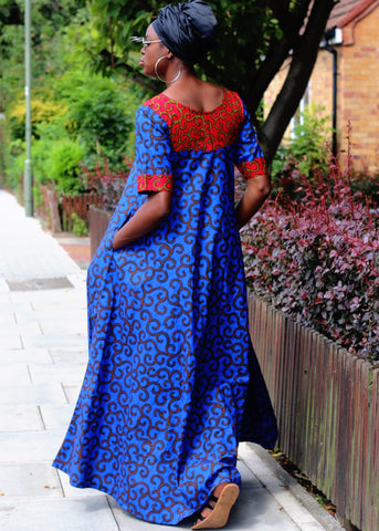 African Print Blue Ankara Print Maxi Dress - African Clothing from CUMO LONDON