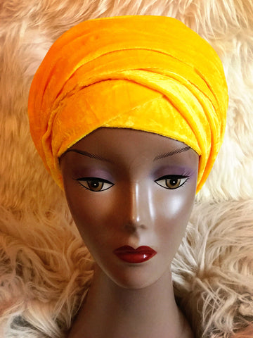 Velvet Plain Turban Headwrap with Double Hand - Ella - African Clothing from CUMO LONDON