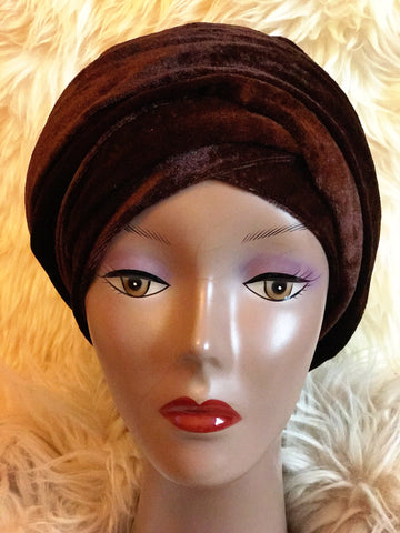 Velvet Plain Turban Headwrap with Double Hand - Mia - ATMKollectionz