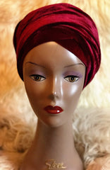 Velvet Plain Turban Headwrap with Double Hand - Mia - African Clothing from CUMO LONDON