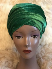 Velvet Plain Turban Headwrap with Double Hand - African Clothing from CUMO LONDON