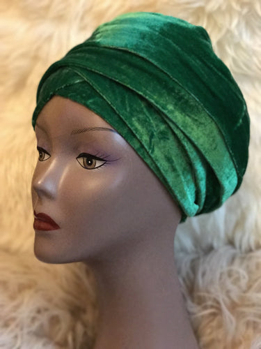 Velvet Plain Turban Headwrap with Double Hand