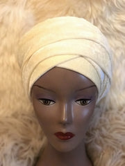 Velvet Plain Turban Headwrap with Double Hand - ATMKollectionz