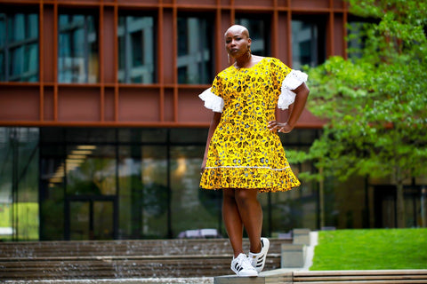 New in - African Print Ankara Shift Dress - Yellow
