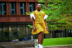 New in - African Print Ankara Shift Dress - Yellow - African Clothing from CUMO LONDON