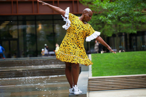 New in - African Print Ankara Shift Dress - Yellow - ATMKollectionz