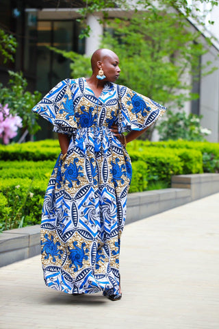 New In - African Maxi Dress in Blue Ankara Wax Print - ATMKollectionz