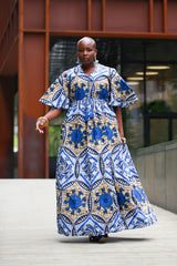 New In - African Maxi Dress in Blue Ankara Wax Print - African Clothing from CUMO LONDON