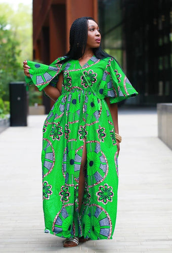 New In - African Maxi Dress in Green Ankara Wax Print