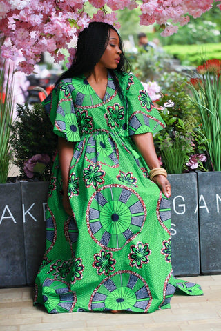 New In - African Maxi Dress in Green Ankara Wax Print - ATMKollectionz