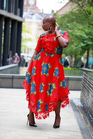 New in African Print Ankara Lace Midi Dress
