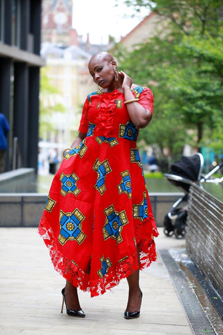 New in African Print Ankara Lace Midi Dress - African Clothing from CUMO LONDON