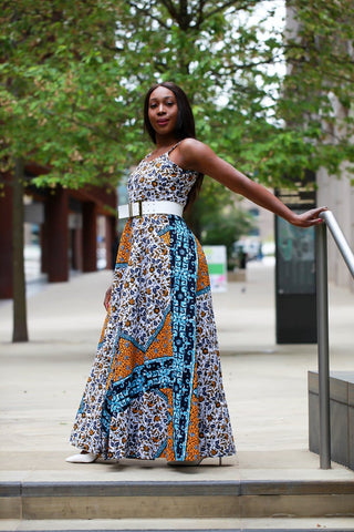 New in - African Print Mixed coloured Ankara Print Maxi Dress - African Clothing from CUMO LONDON