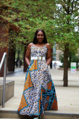 New in - African Print Mixed coloured Ankara Print Maxi Dress - ATMKollectionz