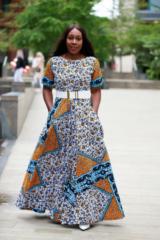 New in - African Dress in Ankara Wax Mixed Print - Maxi Dress - African Clothing from CUMO LONDON