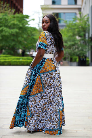 New in - African Dress in Ankara Wax Mixed Print - Maxi Dress - ATMKollectionz