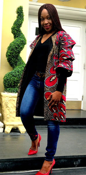 CELINA African Ankara Print Midi Jacket - African Clothing from CUMO LONDON