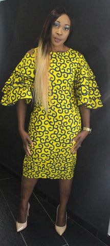 African Print Ankara Bell Sleeves Dress - Yellow - ATMKollectionz