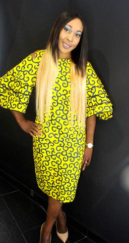 African Print Ankara Bell Sleeves Dress - Yellow - African Clothing from CUMO LONDON