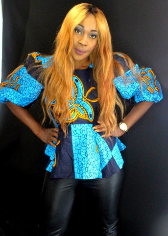 African Print Ankara Peplum Top - African Clothing from CUMO LONDON