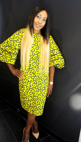 African Print Ankara Bell Sleeves Dress