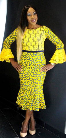 African Prints Ankara Lace Midi Dress - African Clothing from CUMO LONDON