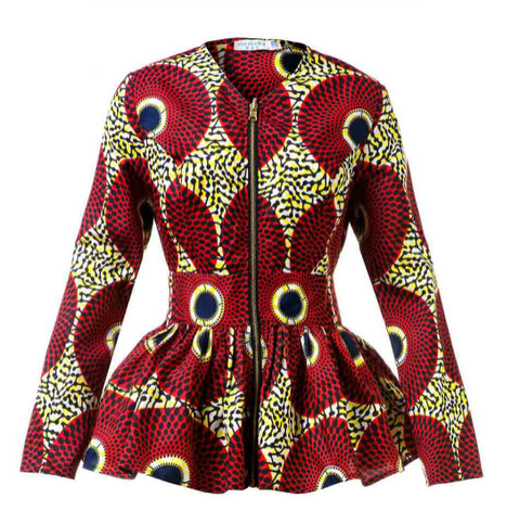 New In African Print Long Sleeve High Waist Top (Also available in Plus Size)