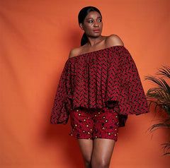 Nnedi Off Shoulder African Print Top/Blouse - African Clothing from CUMO LONDON