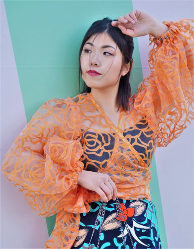 Orange Puff Sleeve Organza Wrap Top Blouse