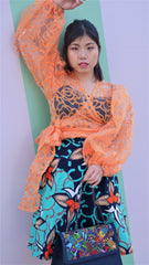 Orange Puff Sleeve Organza Wrap Top Blouse - African Clothing from CUMO LONDON