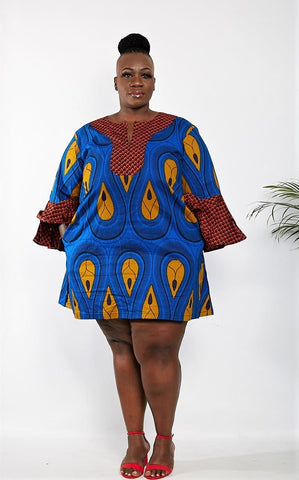 Akunwa - African Print Summer Shift Dress - Blue - African Clothing from CUMO LONDON