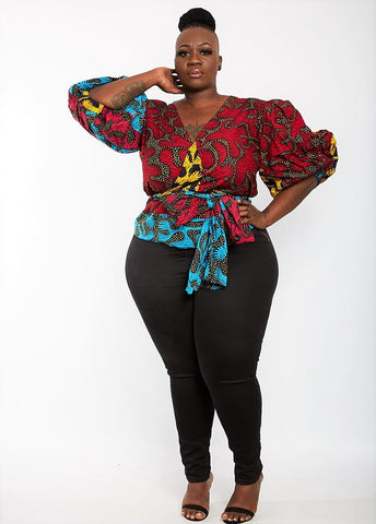 Amara - African Print Wrap Top with Puff Sleeves - Plus Size - African Clothing from CUMO LONDON