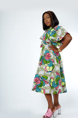Bunmi African Print Flare Midi Dress - African Clothing from CUMO LONDON