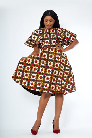 Zimife African Print Flare Midi Dress - African Clothing from CUMO LONDON