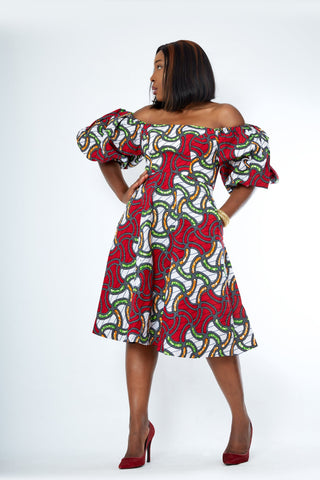 Nadia African Print Flare Midi Dress - African Clothing from CUMO LONDON