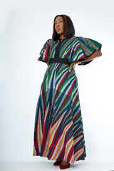 African Print Mixed Print Maxi Dress - Onome - African Clothing from CUMO LONDON