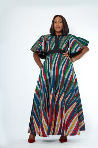 African Print Mixed Print Maxi Dress - Onome
