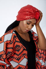 Double Sequin Velvet Turban Chemocap - Lola - African Clothing from CUMO LONDON