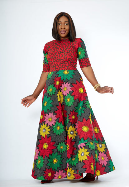 African Print Red Ankara Print Maxi Dress - African Clothing from CUMO LONDON