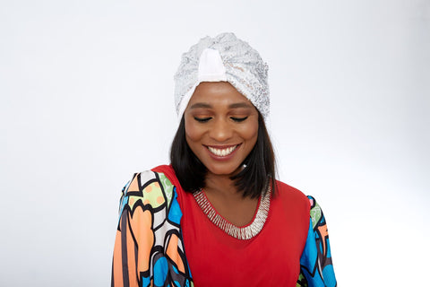 Double Sequin Velvet Turban Chemocap - Bola - African Clothing from CUMO LONDON