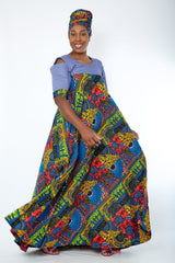 Obiageli African Print Denim Combo Maxi Dress (available in plus size) - African Clothing from CUMO LONDON