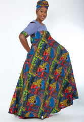 Obiageli African Print Denim Combo Maxi Dress (available in plus size)