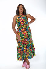 African Print Midi Dress - Zykorah - African Clothing from CUMO LONDON